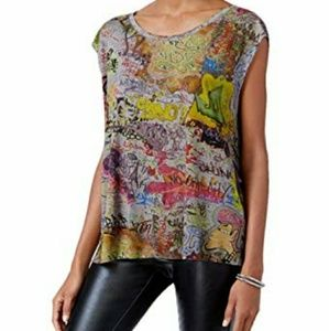 RACHEL Rachel Roy Grey sleeveless Graffiti top